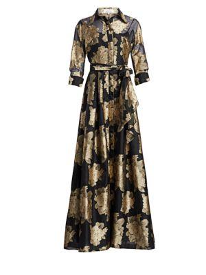 TERI JON BY RICKIE FREEMAN Floral Organza Self-Tie Shirt Dress Gown in Black Gold