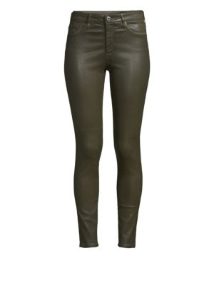 Farrah Skinny Ankle High-Rise Leatherette Jeans, Vintage Leatherette Light Dried Agave