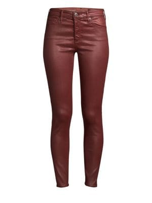 AG Farrah Skinny Ankle High-Rise Leatherette Jeans, Red