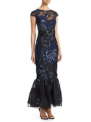 """Image of Artful crinkled floral embroidery adds edge to mermaid gown. Roundneck Cap sleeves Concealed back zip and back keyhole button closure Banded waist Mermaid hem Polyester lining Polyester/metallic Dry clean Imported SIZE & FIT Mermaid silhouette About 60"""" f"""