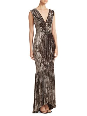 DAVID MEISTER Sleeveless Velvet & Embellished Gown in Olive