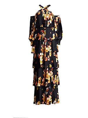 """Image of Shoulder-baring maxi dress with a dreamy floral print and pleated details throughout Halterneck Long cold-shoulder blouson sleeves Button cuffs Back zip closure Tiered skirt Polyester Dry clean Imported SIZE & FIT About 63"""" from shoulder to hem Model show"""
