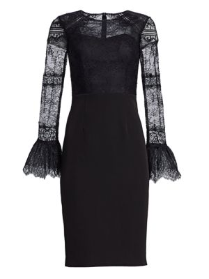 DAVID MEISTER Lace Bell-Sleeve Cocktail Dress in Black