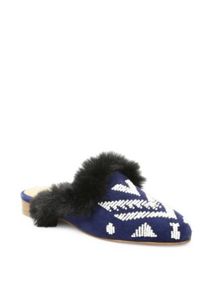 Sedona Faux-Fur Beaded Mules, Navy