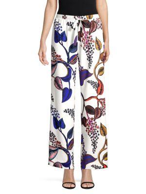 STINE GOYA Aileen Floral-Print Crepe Straight-Leg Pants in White