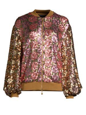 Sequin Embellished Bomber Jacket  in Pink