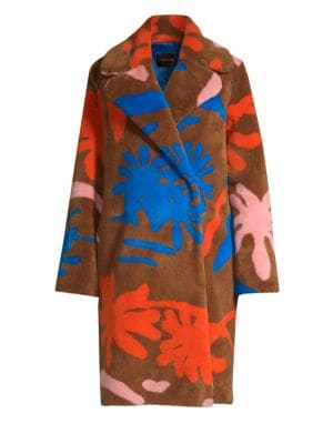 Floral Faux-Shearling Coat in Brown