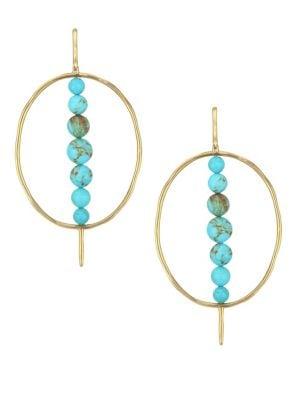 18K Nova Turquoise Gold Matrix & 18K Yellow Gold Hoop Earrings