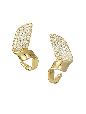Ippolita Stardust 18k Yellow Gold Small Twisted Pav 233 Ribbon Earrings