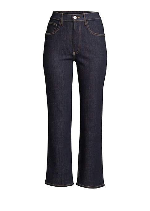 "Image of Flattering high waist jean with an on-trend kick flare hem. Belt loops. Zip fly with button closure. Five pocket styling. Cropped leg. Flared cuff. Cotton/PES/elastane. Machine wash. Made in USA. SIZE & FIT. Rise, about 10.5"".Inseam, about 27"".Leg opening"
