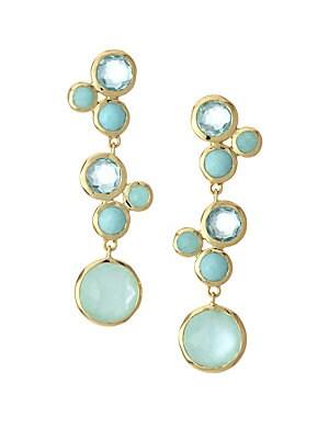 Ippolita Lollipop 18k Yellow Gold Linear Multi Stone Earrings