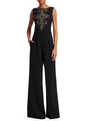 THEIA Sleeveless Embroidered Wide-Leg Jumpsuit in Black