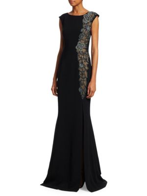 THEIA Beaded & Sheer High-Slit Sleeveless Gown in Black Silver