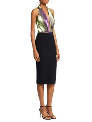 THEIA Halter Duochrome & Crepe Dress in Violet Black