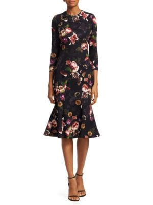 THEIA Couture Floral Sleeve Cocktail Dress in Black Multi