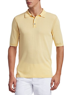 """Image of ONLY AT SAKS. Refined polo garners a minimalist aesthetic that exudes sophistication. Polo collar Short sleeves Rib-knit cuffs Three-button placket Cotton Dry clean Made in Italy SIZE & FIT About 30"""" from shoulder to hem. Mens Pvt Brands - Sfamc Sportswea"""