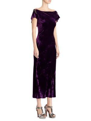 RALPH LAUREN 50Th Anniversary Rachelle Boat-Neck Velvet Midi Dress W/ Beaded-Embellished in Purple