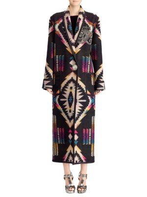 50Th Anniversary Sauville Embellished One-Button Tapestry-Intarsia Long Coat, Ombre Multi