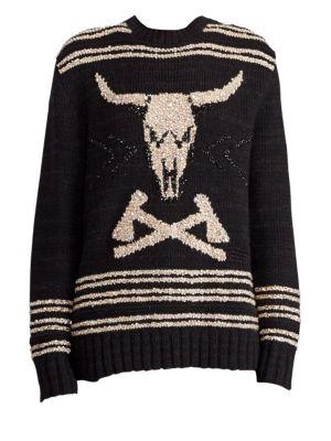 RALPH LAUREN 50Th Anniversary Steer Head Embroidered Crewneck Cashmere-Linen Sweater in Black