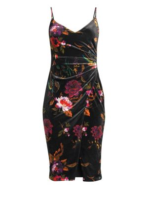BLACK HALO Bowery Ruched Floral Velvet Dress in Literature