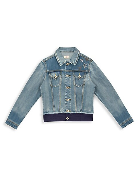 Image of Classic denim jacket with contrasting hem and sweet star embroidery. Spread collar. Long sleeves. Front button close. Chest button flap pockets. Button cuffs. Cotton/viscose/spandex. Machine wash. Imported.