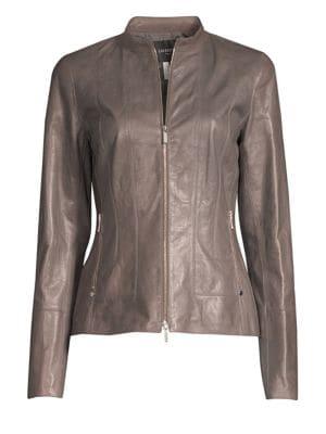 Sadie Zip-Front Glazed Lightweight Lambskin Leather Jacket, Deep Rock