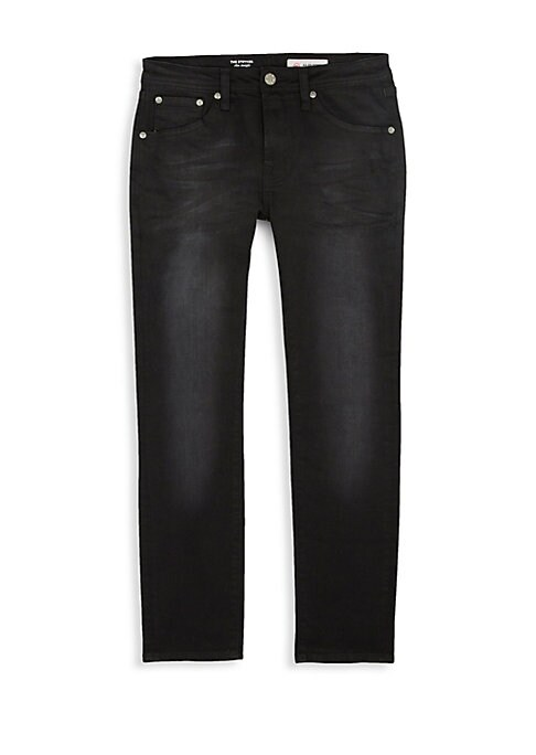 Image of Classic dark-wash jeans crafted of a durable cotton-blend in a slim straight silhouette. Five-pocket style. Zip fly with button closure. Cotton/viscose/poly/spandex. Machine wash. Imported.