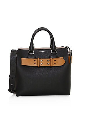 """Image of A belted tote influenced by our iconic trench, panelled inside and out in supple two-tone leather and left unfastened, always. Open top One interior magnetic pocket Two interior slip pockets Leather Made in Italy SIZE Double top handles, 3.9"""" drop Adjusta"""