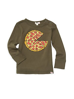 Image of A cartoonish pizza graphic fronts this adorable long sleeve tee. Roundneck with ring snap closure Long sleeves Pullover style Cotton Machine wash Imported. Children's Wear - Contemporary Children. Appaman. Color: Forest Night. Size: 12-18 Months.