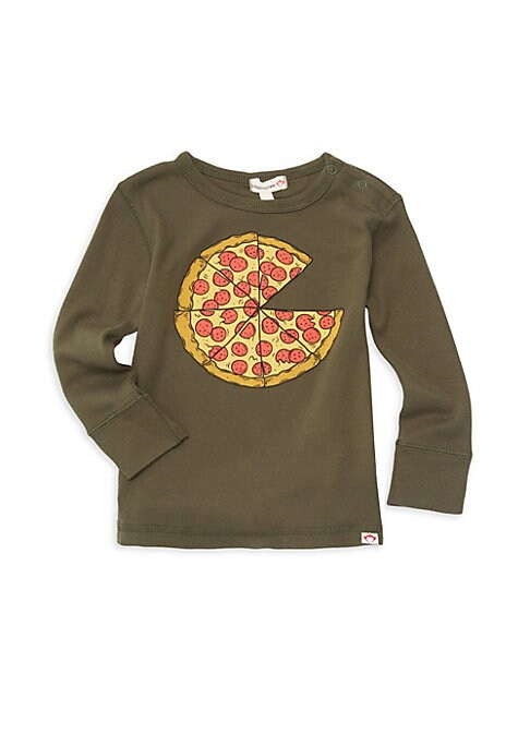 Image of A cartoonish pizza graphic fronts this adorable long sleeve tee. Roundneck with ring snap closure. Long sleeves. Pullover style. Cotton. Machine wash. Imported.