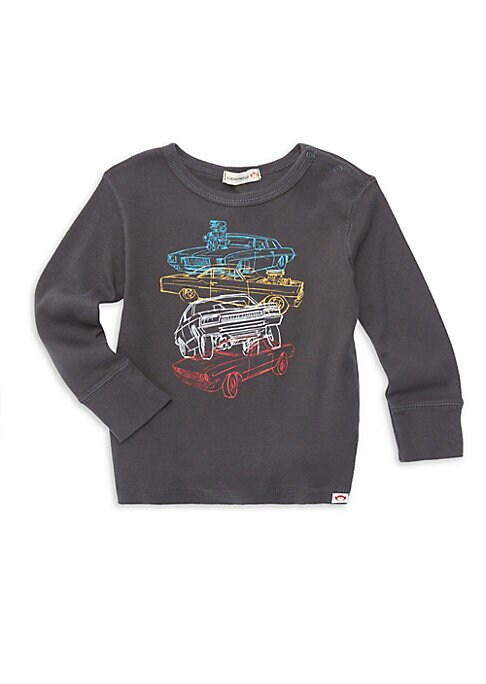 Image of A charming image of stacked cars enhances this long sleeve tee. Roundneck with ring snap closure. Long sleeves. Pullover style. Cotton. Machine wash. Imported.