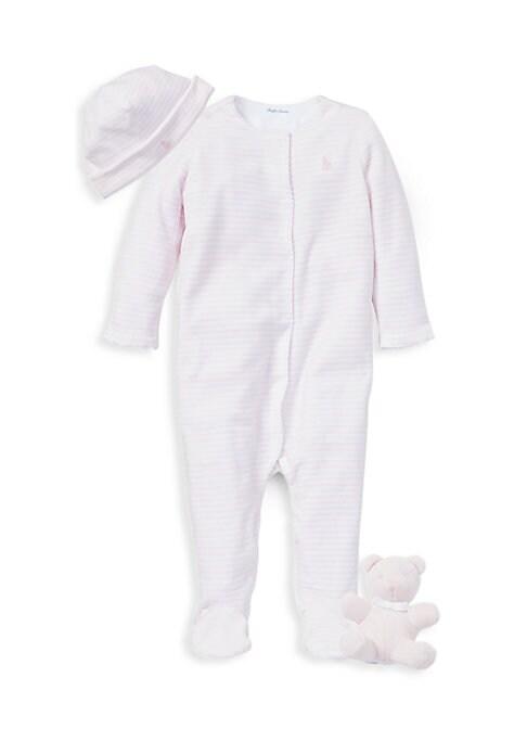 Baby Girls ThreePiece Footie Hat  Bear Set