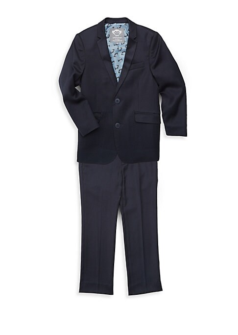 Image of Tailored two-piece skinny suit jacket and trousers set. Polyester/viscose. Machine wash. Imported. JACKET. Notch collar. Long sleeves. Button front. Button cuffs. Chest welt pocket. Waist flap pockets. Back vent. TROUSERS. Banded waist. Belt loops. Button