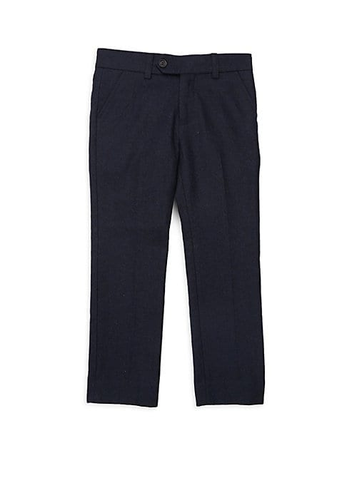 Image of Smartly tailored dress pants made of lightweight wool blend. Banded waist. Belt loops. Button tab with zip closure. Side slash pockets. Back welt button pockets. Polyester/wool. Dry clean. Imported.