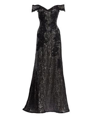 RENE RUIZ Off-The-Shoulder Bead Embellished A-Line Gown in Black/Gold