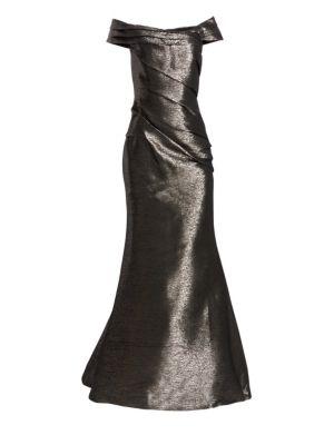 RENE RUIZ Off-The-Shoulder Metallic Gown in Pewter