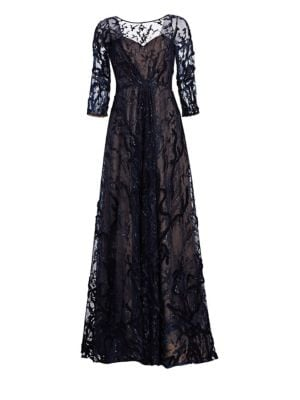 RENE RUIZ Embellished A-Line Gown in Navy
