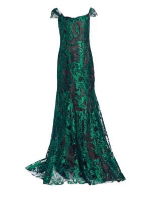 RENE RUIZ Off-The-Shoulder Lace Gown in Emerald