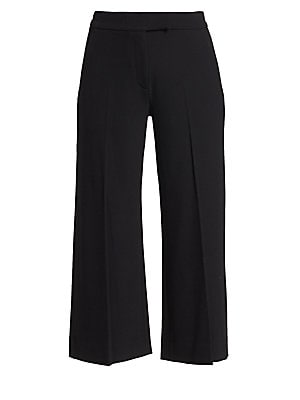 Image of Crepe adds a beautiful drape to polished trousers in a cropped length with wide legs. Banded waist Zip fly with extended tab closure Side slip pockets Back welt pockets Seamed legs Viscose/acetate Dry clean Made in USA SIZE & FIT Cropped wide leg Rise, ab
