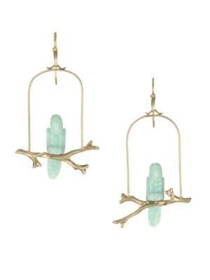 ANNETTE FERDINANDSEN Aventurine & 14K Yellow Gold Parrot Drop Earrings