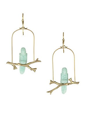 """Image of Exquisite aventurine stones crafted in the form of parrots resting on a gold cage exude enchantment. Aventurine 14K yellow gold French hook Made in USA SIZE Width, about 1.25"""" Drop, about 2.25"""". Fashion Jewelry - Modern Jewelry Designers. Annette Ferdinan"""