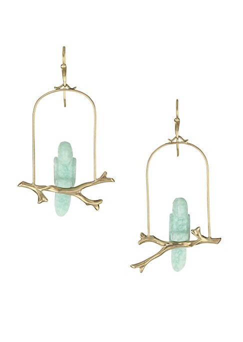 """Image of Exquisite aventurine stones crafted in the form of parrots resting on a gold cage exude enchantment. Aventurine.14K yellow gold. French hook. Made in USA. SIZE. Width, about 1.25"""".Drop, about 2.25""""."""