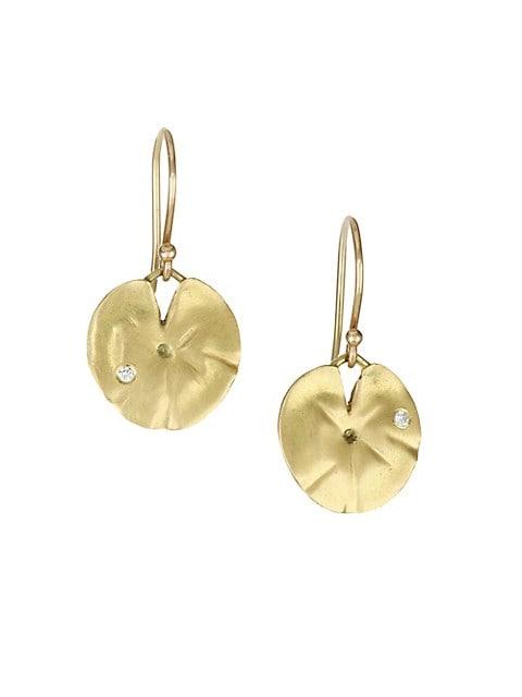 Diamond & 14K Yellow Gold Lily Pad Earrings