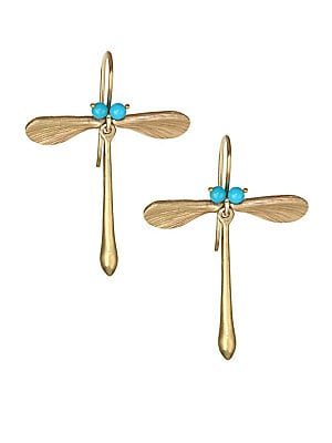 """Image of Eclectic dragonfly earrings feature stunning turquoise stones and an artful wing design. Sleeping beauty turquoise 14K yellow gold French hook back Made in USA SIZE Width, about 1"""" Length, about 1.25"""". Fashion Jewelry - Modern Jewelry Designers. Annette F"""