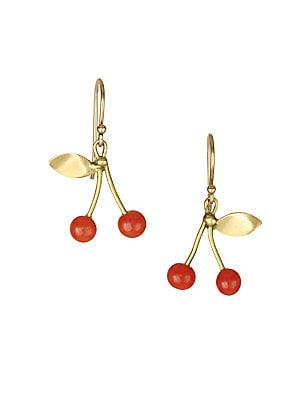 """Image of Cherry earrings featuring eclectic gold stems exude whimsy. Red coral 18K yellow gold French hook back Made in USA SIZE Width, about 0.5"""" Drop, about 1"""". Fashion Jewelry - Modern Jewelry Designers. Annette Ferdinandsen. Color: Gold."""