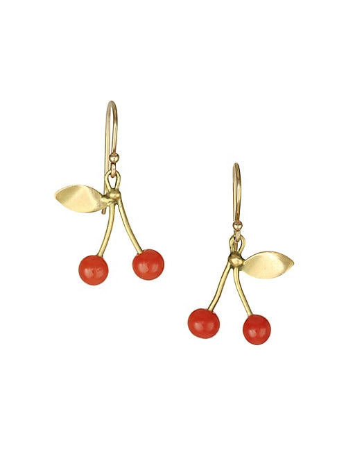 """Image of Cherry earrings featuring eclectic gold stems exude whimsy. Red coral.18K yellow gold. French hook back. Made in USA. SIZE. Width, about 0.5"""".Drop, about 1""""."""