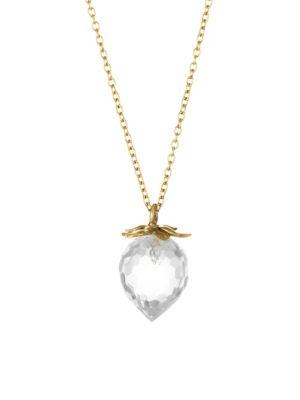 ANNETTE FERDINANDSEN 14K Yellow Gold & Crystal Strawberry Pendant Necklace