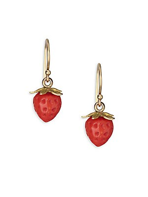 """Image of Delicate strawberry earrings feature an opulent golden wire. Red coral 18K yellow gold French hook back Made in USA SIZE Width, about 0.25"""" Length, about 0.75"""". Fashion Jewelry - Modern Jewelry Designers. Annette Ferdinandsen. Color: Gold."""