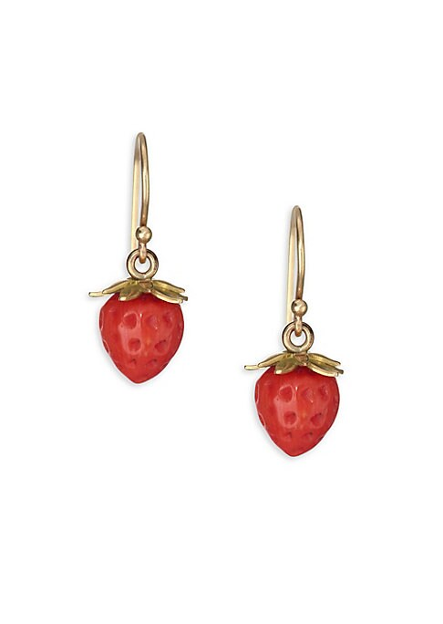 """Image of Delicate strawberry earrings feature an opulent golden wire. Red coral.18K yellow gold. French hook back. Made in USA. SIZE. Width, about 0.25"""".Length, about 0.75""""."""