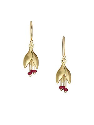 """Image of Flower buds' delicate essence is captured in these stunning gold and ruby earrings. Ruby 14K yellow gold French hook back Made in USA SIZE Width, about 0.25"""" Length, about 1"""". Fashion Jewelry - Modern Jewelry Designers. Annette Ferdinandsen. Color: Gold."""